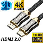 переходник hdmi vga - Braided Ultra HD HDMI V2.0 Cable High Speed Ethernet HDTV 2160P 4K 3D 18Gbps US
