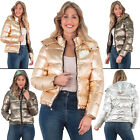 Ladies Brave Soul Metallic Polyester Long Sleeve Padded Jacket Hooded Size 8 16