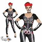 Ladies Day Of The Dead Skeleton Sugar Skull Halloween Fancy Dress Outfit Catsuit