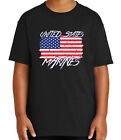 Faded US Flag Kid's T-shirt Marine USMC Patriotic Tee for Youth - 1823C