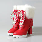 Pretty Womens Fur Lining Platform Thick Heels Lace Up New Winter Warm Ankle Boot