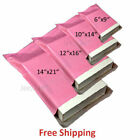 STRONG PINK POSTAL PLASTIC POSTAGE POLY MAILING BAGS MAILERS 3 SIZES/QTY'S*