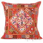 """24"""" Red Embroidered Patchwork Decorative Pillow Cushion Throw Cover Bohemian Boh"""