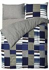 Velosso Blue Denim Patchwork Bedding Fitted Sheet Reversible Checkered All Size