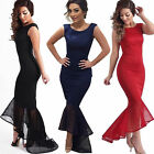 Women Fishtail Mermaid Sleeveless Evening Prom Long Dress  Formal Evening Gown