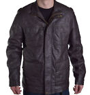 Perry Ellis Men's Chocolate Brown Faux Leather Jacket