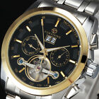 Mens Full Tourbillon Analog Dial Stainless Steel Date Automatic Mechanical Watch
