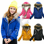 Women's Warm Coat Rose Elegant Zip Jacket Sweet Hoodie Outwear Jecket