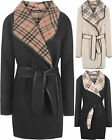 Plus Womens Check Lining Long Sleeve Wet Look Trim Belt Open Coat Ladies Jacket