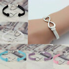 Lucky 8 Friendship Infinity Bracelet Jewelry Silver Handmade Leather Bangle New