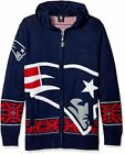 Forever Collectibles NFL Mens New England Patriots Full Zip Hooded Sweater, Navy