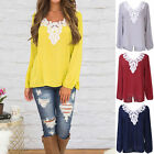 Women Lace Stitching V-neck Long-sleeved Loose Shirt Large Size Coth Blouse GIFT