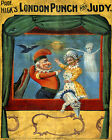 POSTER PUPPET THEATER LONDON PUNCH AND JUDY MARIONETTE VINTAGE REPRO FREE S/H
