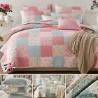 Quilted Bedspread Printed Patchwork Vintage Bed Quilt PillowCase 100% Cotton