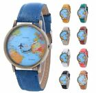 Mens Women's Watches Leather Stainless Steel Quartz Analog Wrist Watch World Map