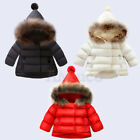 Toddle Baby Girl Winter Coat Down Jacket Thick Fur Collar Parka Cotton Outerwear