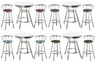FC120 3 PIECE SPORTS THEMED CHROME METAL WHITE BAR TABLE SET W 2 SWIVEL STOOLS