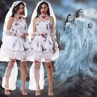 NEW ADULTS HALLOWEEN WHITE ZOMBIE BRIDE COSTUME CORPSE GHOST - SIZE 8-12