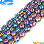Rainbow Metallic Coated Reflections Hematite Faceted Round Beads Free Shipping
