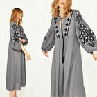 Womens Vintage 70s Hippie Floral Embroidered Boho Balloon Sleeve Festival Dress