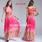 pld58 PLUS SIZE Women Floral Ruffle Maxi Evening Dress 12 14 16 18 20 22 24 26
