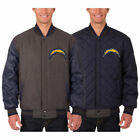 Los Angeles Chargers Wool & Leather Reversible Jacket with Embroidered Logos
