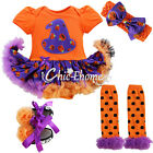 My 1st Halloween Newborn Baby Girls Tutu Romper Dress Outfits Headband Costumes