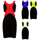 Womens Side Cut Out Bodycon Dress Black Mini Red Yellow Blue Ladies New Sz 8-14