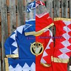 NEW Boys Kids Hero Red Blue Mighty Morphin Power Rangers Costume 3 Pcs Set 8-9Yr
