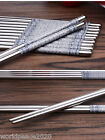 Stainless steel chopsticks  Smooth round gray FLOWER one pair