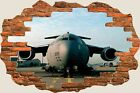 3D Hole in Wall Air Force Aeroplane View Wall Stickers Mural Art Decal 132