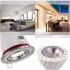 1 / 4 X BRUSHED CHROME IP20 Fire Rated Ceiling Down Light & 5W LED BULB