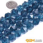 Dyed Blue Kyanite Crystal Quartz Faceted Polygonal Beads For Jewelry Making 15""