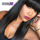 """12""""-22"""" Brazilian Straight Remy Human Hair Lace Wig With Bang/fringe Jet Black"""