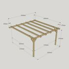 Lean To Wooden Notched Garden Pergola - Outdoor Patio Structure - Rustic Brown