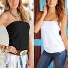 New Womens Plain Strapless Sleeveless Ruched Boob Tube Ladies Bandeau Top 8 -16
