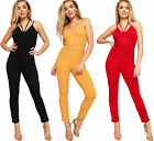 Womens Strappy Cross Sleeveless Full Length Stretch V-Neck Ladies Crepe Jumpsuit
