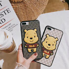 Cartoon cute Winnie the pooh Embroidery soft case Cover for iPhone X 8 7 6S Plus