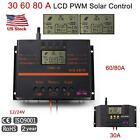 30A/60A/80A LCD Solar Charge Controller 12V/24V Auto Switch Battery Regulator WT