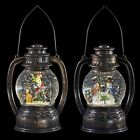 Christmas Lantern Water Filled Snow Globe LED Decoration Santa Snowman