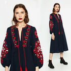 Vintage 70s Hippie Mexican Floral Embroidered Boho Balloon Sleeve Maxi DRESS SML