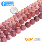 Red Agate Gemstone Frost Matte Round Beads For Jewelry Making Free Shippng 15""