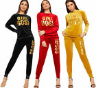 Womens Slogan Print Velour Velvet Long Sleeve Tracksuit Ladies Top Bottoms Set