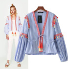 VTG CHIC CHIARA FLORAL EMBROIDERY PRINT DRESS BOMBER BLOUSE JACKET WITH TASSELS