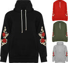 Plus Womens Floral Embroidered Pouch Pocket Long Sleeve Sweatshirt Ladies Hoodie