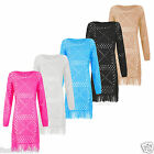 New Women Ladies Knitted Crochet Bottom Fringe Pullover Cardigan jumper 16-26