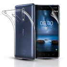 CLEAR SLIM GEL CASE COVER & SCREEN PROTECTOR FOR NOKIA 3 NOKIA 5 NOKIA 8