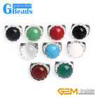 17mm Button Stone Beads Vintage Tibetan Silver Marcasite Ring Free Shipping