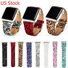 Bling Glitter Christmas PU Leather Wrist Strap Watch Band for Apple Watch iWatch image