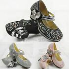 Girls Kids Childrens Low Heel Party Wedding Mary Jane Style Sandals Court Shoes